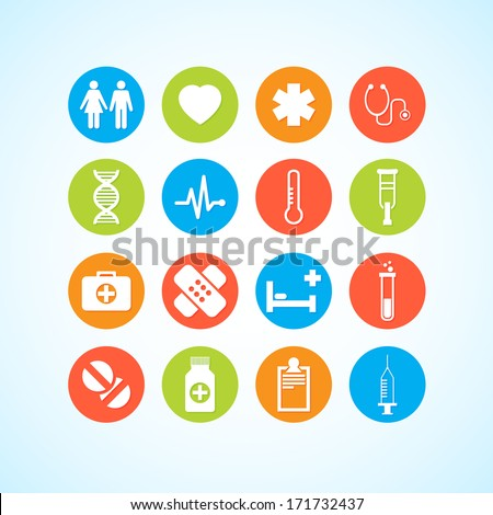 Vector Medical Icons 16 Set - stock vector