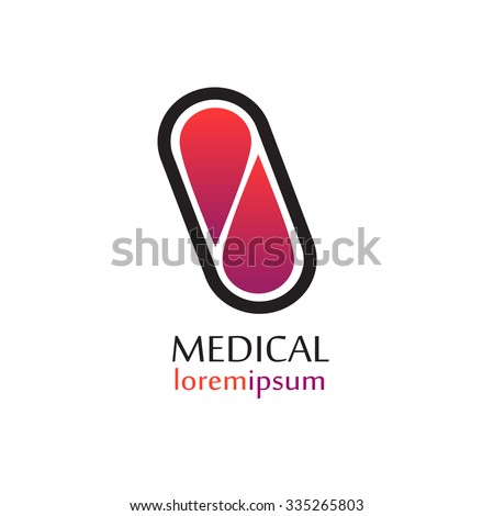 Vector medical logo template pill. Pharmacy capsule icon. - stock vector