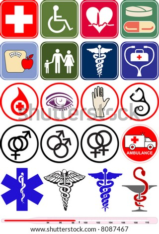Vector medical objects & icons - stock vector