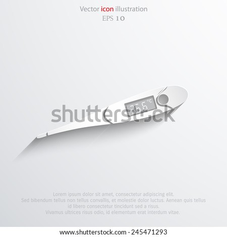 Vector medical thermometer flat icon. Eps 10. - stock vector