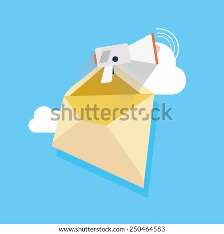 vector megaphone illustration concept of e-mail  icon on blue background. - stock vector