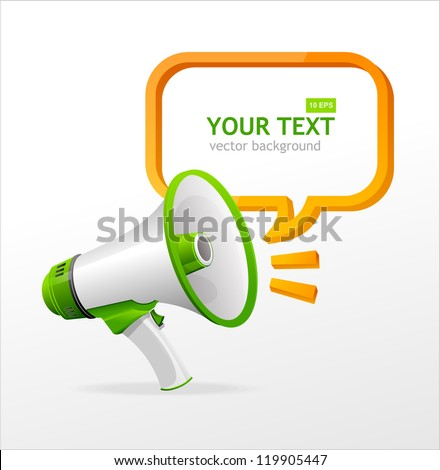 Vector megaphone speech templates for text - stock vector