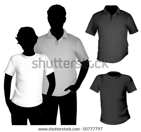 Vector. Men's black and white t-shirt and polo shirt template with human body silhouette. - stock vector