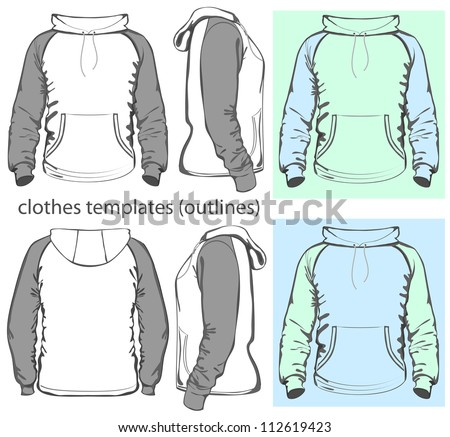 Vector. Men's hooded sweatshirt with pocket (back, front and side views). Raglan sleeve. Outlines - stock vector