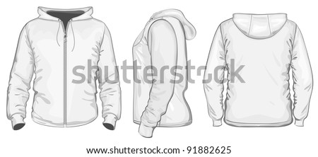 Vector. Men's hooded sweatshirt with zipper (back, front and side view) - stock vector