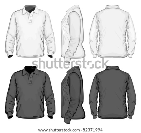 Vector. Men's polo-shirt design template (front, back and side view). Long sleeve. No mesh. - stock vector
