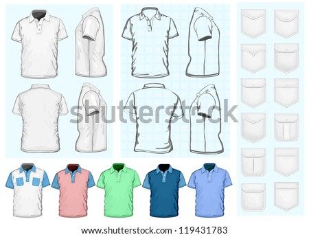 Vector. Men's polo-shirt design template (front, back and side view). No mesh. Different variants: outlines, detailed  and color. Collections of pockets. - stock vector
