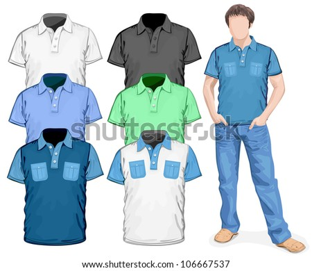 Vector. Men's polo-shirts design template (front view) - stock vector