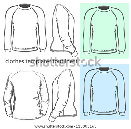 Vector. Men's sweatshirt (back, front and side view). Outlines - stock vector