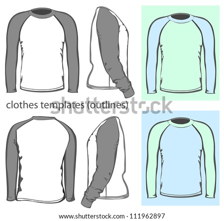 Vector. Men's t-shirt design template (front, back and side view). Long raglan sleeve. outline - stock vector