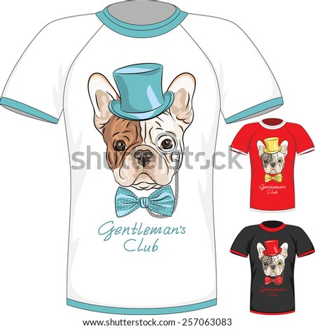 Vector Men T-shirt Design Template with hipster French Bulldog dog gentleman - stock vector