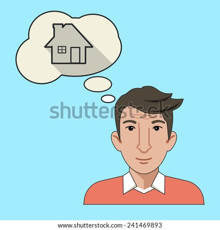 Vector Men Thinking About New House Flat Line Icon - stock vector
