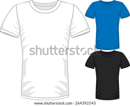 Vector Mens short sleeve t-shirt design templates in three colors - stock vector