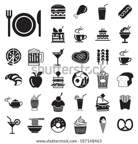vector menu  food and drink icons set  - stock vector