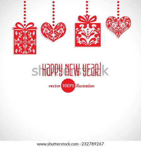 Vector Merry Christmas and Happy New Year card design. Congratulations lettering and red Gifts and Hearts with space for your text. Perfect as invitation or announcement, greeting card. Vector 10 EPS - stock vector
