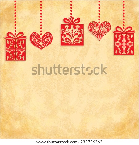 Vector Merry Christmas and Happy New Year card design. Red Gifts and Hearts on the vintage background with space for your text. Perfect as invitation or announcement, greeting card. Vector 10 EPS - stock vector