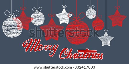 Vector Merry Christmas card. Hand lettering and calligraphy. - stock vector