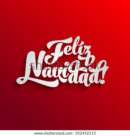 Vector Merry Christmas card template with greetings in spanish language. Feliz navidad - stock vector