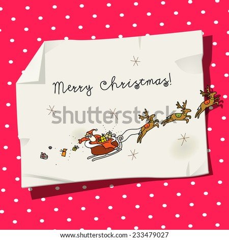 Vector merry christmas greeting card, santa claus in a sledge with deers, throwing gifts. Hand drawing on paper. Doodle, sketch. - stock vector