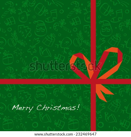 Vector merry christmas greeting card, wrapping paper pattern with gift bow.  - stock vector
