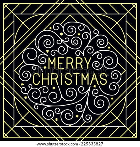 Vector merry christmas hand lettering in outline style - greeting card with decorative typography and line flourishes  in white and gold colors on black background - stock vector