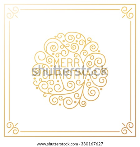 Vector merry christmas hand lettering in outline style - greeting card with decorative typography and line flourishes in golden colors on white background - stock vector
