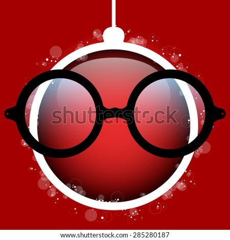 Vector - Merry Christmas Red Ball with Glasses - stock vector