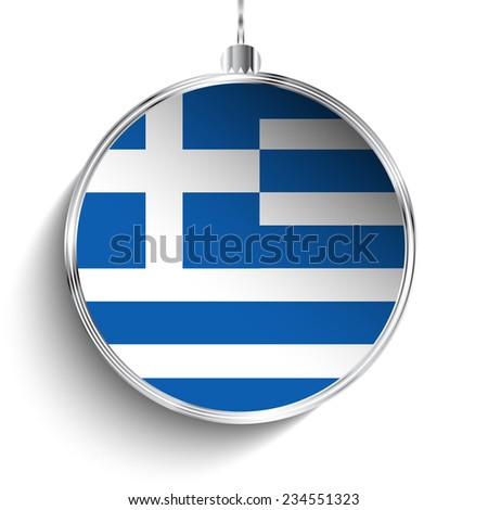 Vector - Merry Christmas Silver Ball with Flag Greece - stock vector