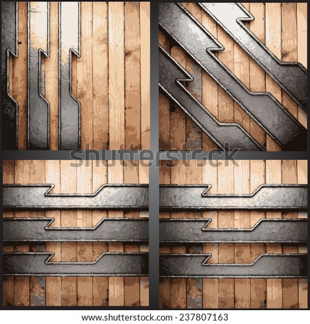 Vector metal and wood background set - stock vector