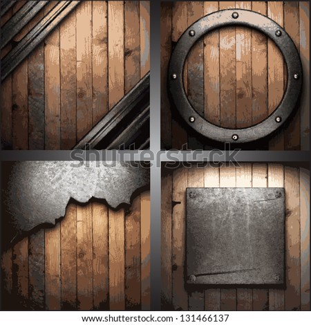 Vector metal background set - stock vector