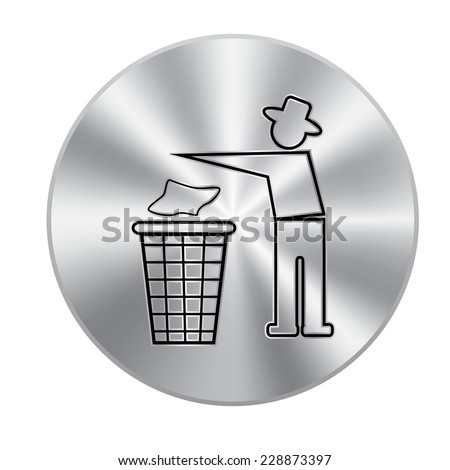 Vector metal button with black no littering sign isolated - stock vector