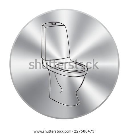 Vector metal button with WC bathroom toilet - stock vector
