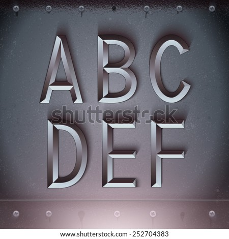 Vector Metal Embossed Font from A to F - stock vector