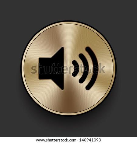 Vector metal multimedia speaker volume icon / button, graphic design element - stock vector