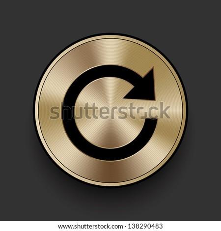 Vector metal refresh icon / button - stock vector