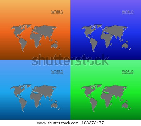 Vector metal world maps - stock vector