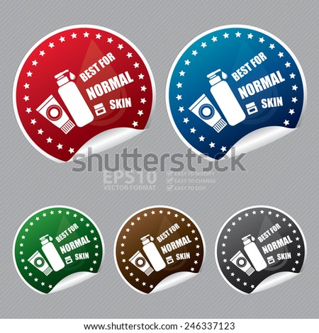 Vector : Metallic Best for Normal Skin Cosmetic Container Sticker, Icon or Label - stock vector