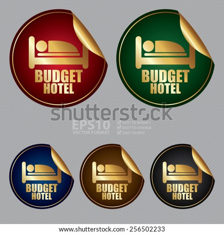 Vector : Metallic Budget Hotel Sticker, Icon or Label - stock vector