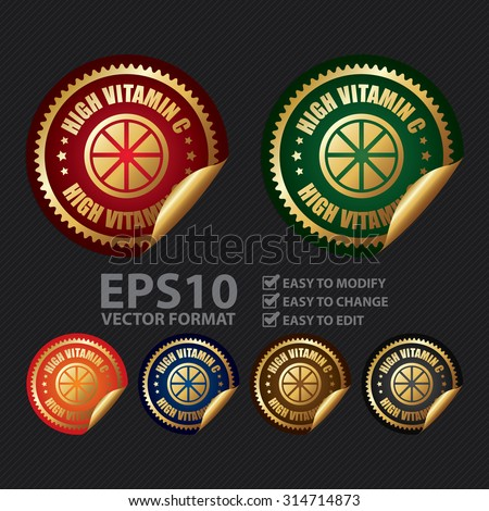 Vector : Metallic Circle High Vitamin C Infographics Peeling Sticker, Label, Icon, Sign or Badge - stock vector