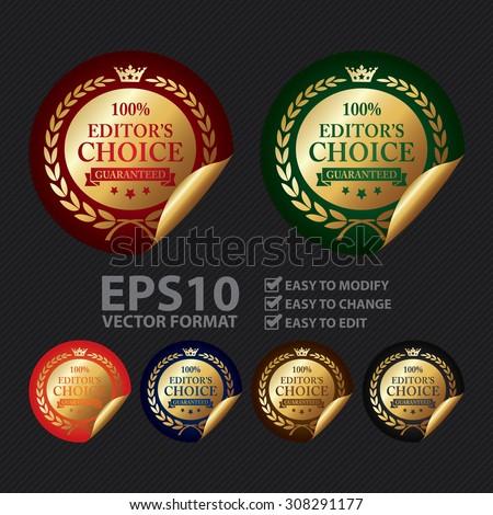 Vector : Metallic 100% Editor's Choice Guaranteed Infographics Peeling Sticker, Icon, Sign or Label - stock vector