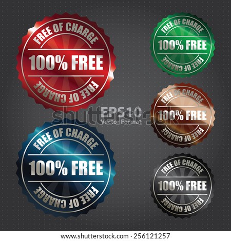 vector : metallic 100% free of charge badge, sticker, icon, label, sign, banner - stock vector