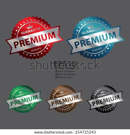Vector : Metallic Premium Guarantee Quality Icon, Label, Sign or Sticker - stock vector