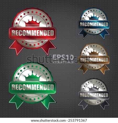 vector : metallic recommended ribbon, badge, sticker, banner, sign, icon, label  - stock vector