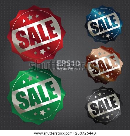 vector : metallic sale sticker, badge, icon, stamp, label, banner, sign - stock vector