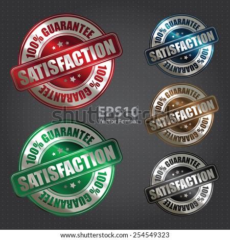 vector : metallic satisfaction 100% guarantee badge, sticker, banner, sign, icon, label - stock vector