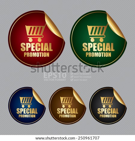 Vector : Metallic Special Promotion Sticker, Icon or Label - stock vector