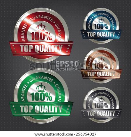 vector :  metallic 100% top quality guarantee medal, sticker, sign, badge, icon, label - stock vector