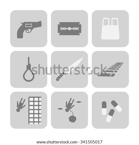 Vector methods of suicide icons set. Sad symbols - stock vector