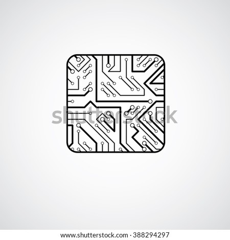 Vector microchip design, cpu. Information communication technology element, circuit board in the shape of square. - stock vector