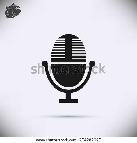 Vector microphone icon - stock vector